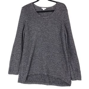 J Jill silver black long sleeve sweater A0091